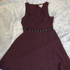 Maroon dress with belt